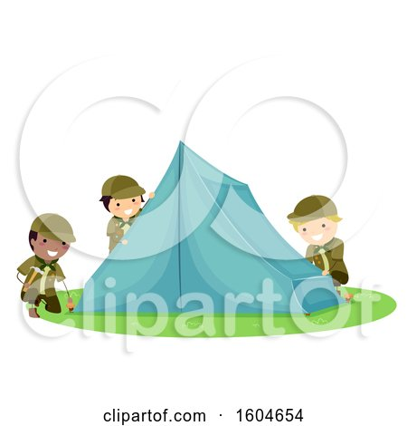 Clipart of a Group of Boy Scouts Setting up a Tent - Royalty Free Vector Illustration by BNP Design Studio