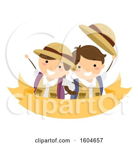 Clipart of a Boy and Girl Wearing Backpacks Wearing Explorer Clothes - Royalty Free Vector Illustration by BNP Design Studio