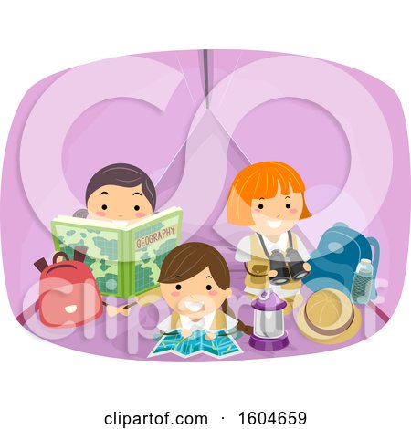 Clipart of a Group of Girls Inside a Tent - Royalty Free Vector Illustration by BNP Design Studio