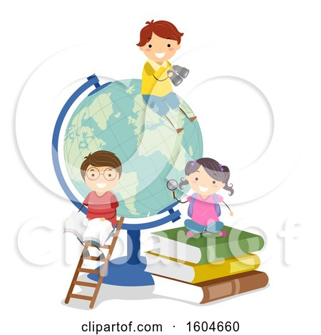 Clipart of a Giant Desk Globe with Children and Books - Royalty Free Vector Illustration by BNP Design Studio
