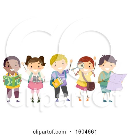 Clipart of a Group of Children with Geography Elements - Royalty Free Vector Illustration by BNP Design Studio