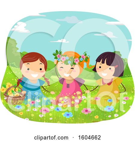 Clipart of a Group of Girls Playing in a Flowery Spring Meadow - Royalty Free Vector Illustration by BNP Design Studio