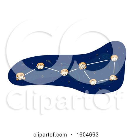 Clipart of a Big Dipper Constellation with Faces of Children - Royalty Free Vector Illustration by BNP Design Studio