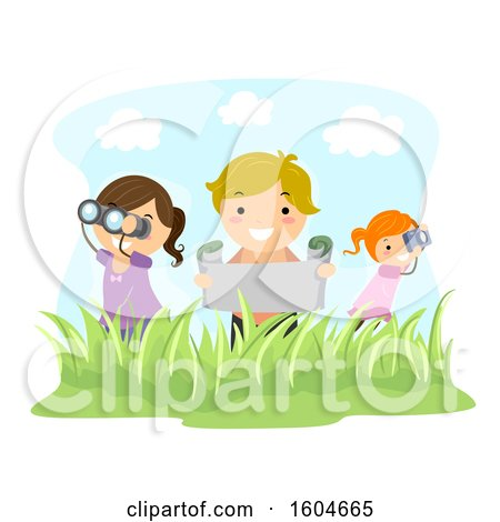 Clipart of a Boy and Girls Holding Binoculars, Map and Camera Exploring Outdoors - Royalty Free Vector Illustration by BNP Design Studio