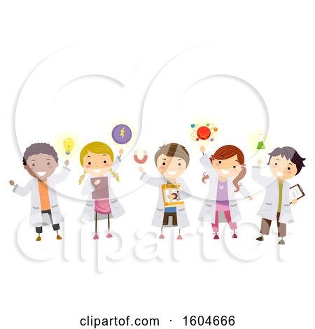 Clipart of a Group of Children with Physics Elements - Royalty Free Vector Illustration by BNP Design Studio