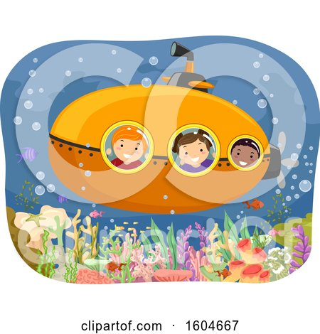 Clipart of a Group of Children in a Submarine over a Reef - Royalty Free Vector Illustration by BNP Design Studio