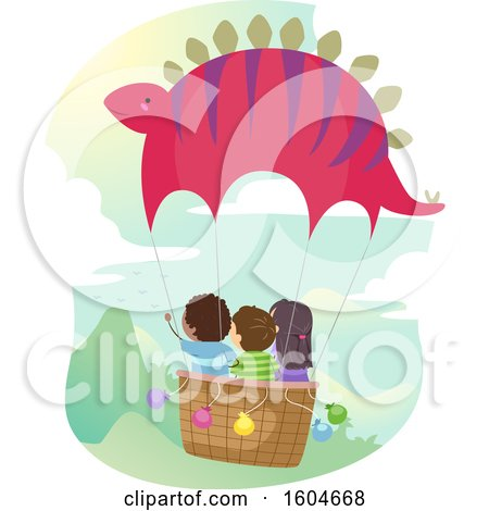 Clipart of a Group of Children Riding in a Dinosaur Hot Air Balloon - Royalty Free Vector Illustration by BNP Design Studio