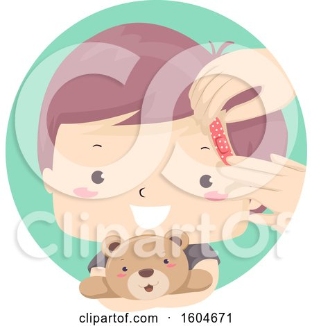 Clipart of a Boy Hugging a Teddy Bear While Getting His Forehead Bandaged - Royalty Free Vector Illustration by BNP Design Studio