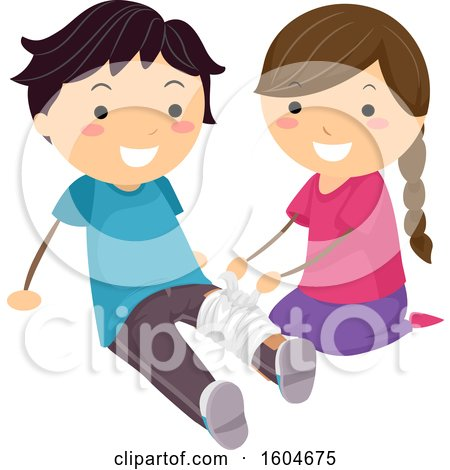 Clipart of a Girl Practicing Bandaging a Boys Leg - Royalty Free Vector Illustration by BNP Design Studio