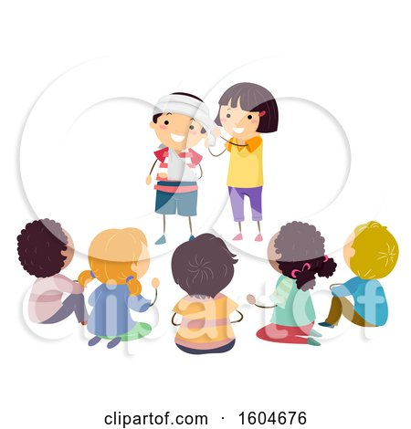 Clipart of a Group of Children Learning How to Apply a Head Bandage - Royalty Free Vector Illustration by BNP Design Studio