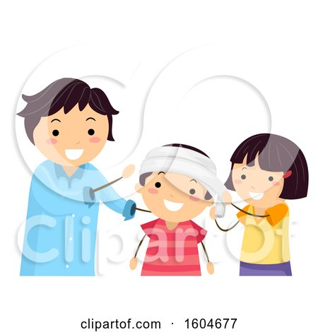 Clipart of a Teacher Instructing Children on How to Apply a Head Bandage - Royalty Free Vector Illustration by BNP Design Studio
