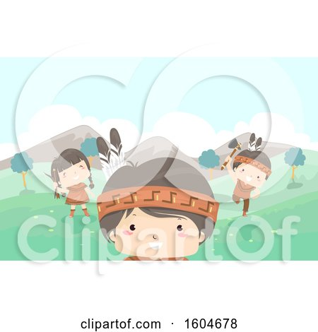 Clipart of a Group of Native American Children Playing in a Meadow - Royalty Free Vector Illustration by BNP Design Studio