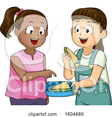 Clipart of a Girl Sharing a Sandwich with Her Friend - Royalty Free Vector Illustration by BNP Design Studio