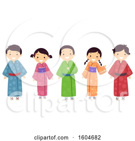 Clipart of a Group of Japanese Children Wearing Colorful Kimonos - Royalty Free Vector Illustration by BNP Design Studio