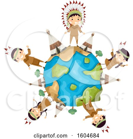 Clipart of a Group of Native American Children and Tipis Around a Globe - Royalty Free Vector Illustration by BNP Design Studio
