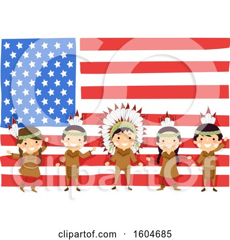 Clipart of a Group of Native American Children in Front of an American Flag - Royalty Free Vector Illustration by BNP Design Studio