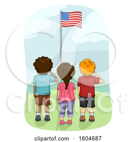 Clipart of a Rear View of Children Saluting the American Flag - Royalty Free Vector Illustration by BNP Design Studio