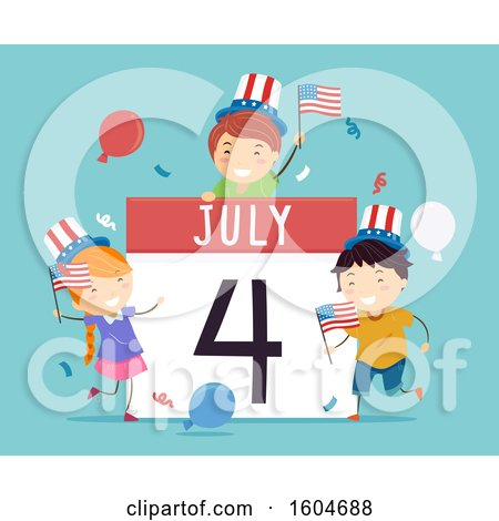 July 4 Calendar with Celebrating Children, on Blue Posters, Art Prints