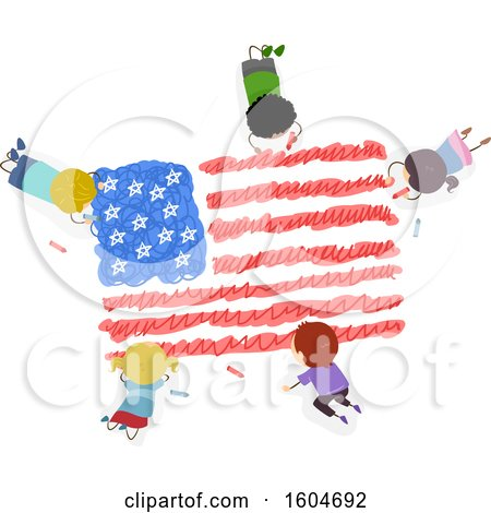 Clipart of a Group of Children Coloring an American Flag - Royalty Free Vector Illustration by BNP Design Studio