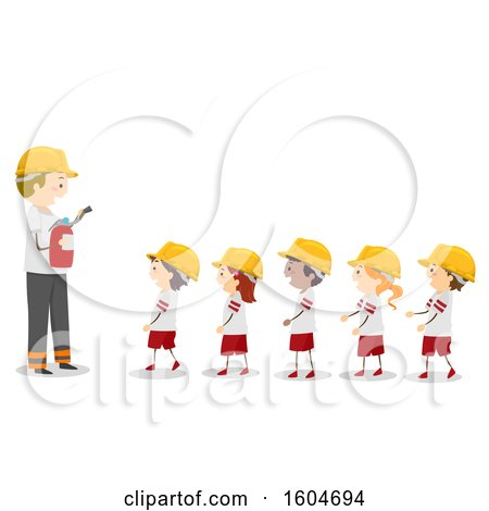 Clipart of a Fireman Teaching a Line of Children About Fire Extinguishers - Royalty Free Vector Illustration by BNP Design Studio