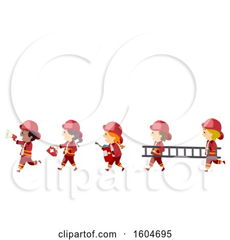 Clipart of a Line of Fire Fighter Children with Equipment - Royalty Free Vector Illustration by BNP Design Studio