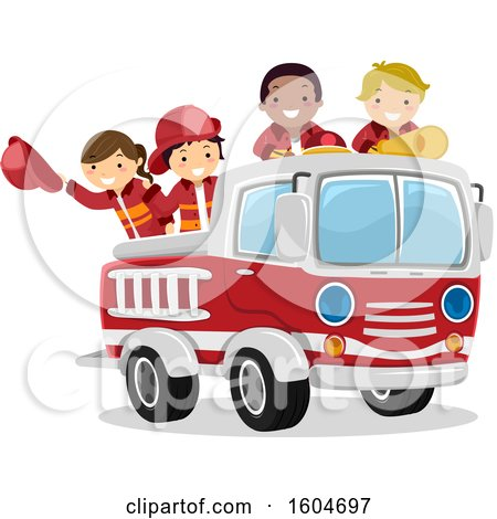 Clipart of a Group of Fire Fighter Children in a Truck - Royalty Free Vector Illustration by BNP Design Studio