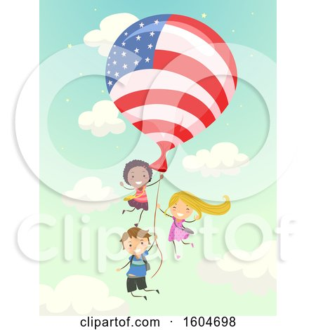 Group of Children Flying with an American Flag Balloon Posters, Art Prints