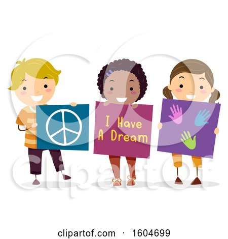 Clipart of a Group of Children Holding a Peace Sign, I Have a Dream, and Hand Print Board - Royalty Free Vector Illustration by BNP Design Studio