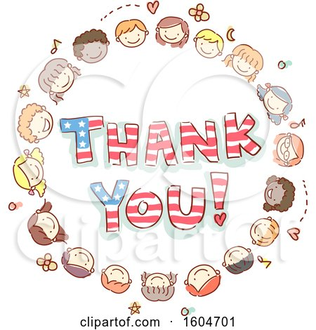 Clipart of a Sketched Circle of Child Faces Around Thank You American Flag Words - Royalty Free Vector Illustration by BNP Design Studio