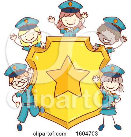 Clipart of a Sketched Group of Children in Police Uniforms Around a Badge - Royalty Free Vector Illustration by BNP Design Studio