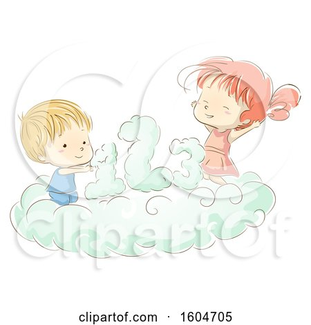 Clipart of a Sketched Boy and Girl with Numbers on a Cloud - Royalty Free Vector Illustration by BNP Design Studio