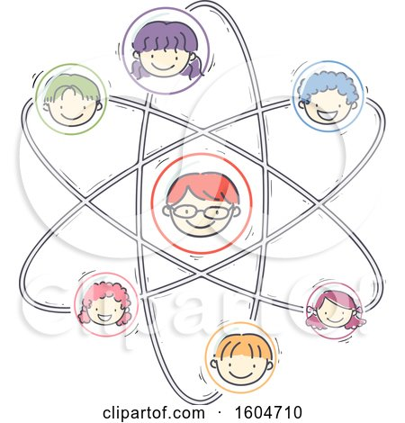 Clipart of a Sketched Atom with Faces of Children - Royalty Free Vector Illustration by BNP Design Studio