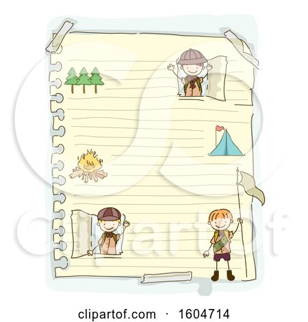 Clipart of a Sketched Sheet of Ruled Paper with Scout Boys - Royalty Free Vector Illustration by BNP Design Studio