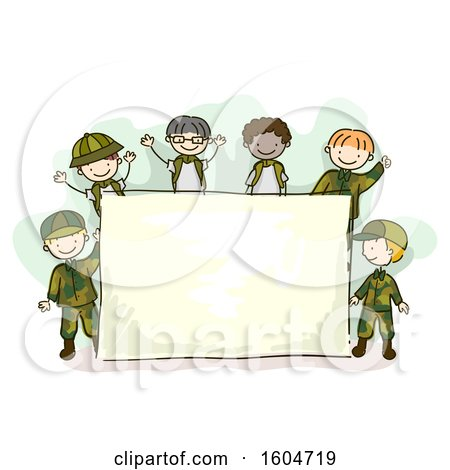 Clipart of a Sketched Group of Boys in Camouflage Uniforms Around a Sign - Royalty Free Vector Illustration by BNP Design Studio