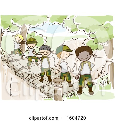 Clipart of a Sketched Group of Boys Wearing Camouflage Uniforms and Crossing a Bridge - Royalty Free Vector Illustration by BNP Design Studio
