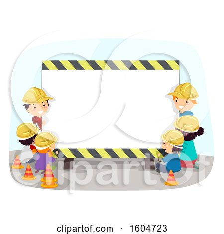 Clipart of a Group of Children Wearing Hardhats Around a Construction Sign - Royalty Free Vector Illustration by BNP Design Studio