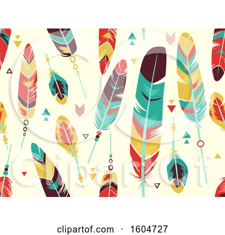 Clipart of a Seamless Colorful Feather Background - Royalty Free Vector Illustration by BNP Design Studio