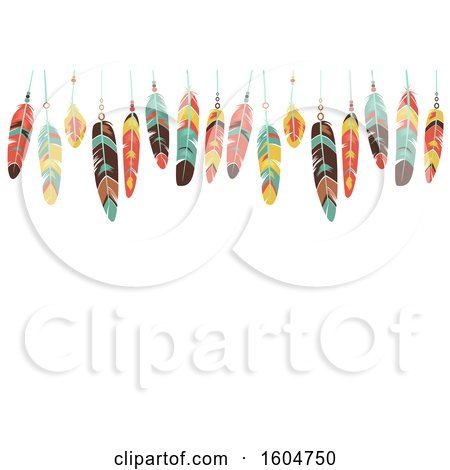 Clipart of a Border of Colorful Hanging Feathers - Royalty Free Vector Illustration by BNP Design Studio