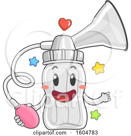 Clipart Of A Shopping Bag Mascot Holding Toddler Things
