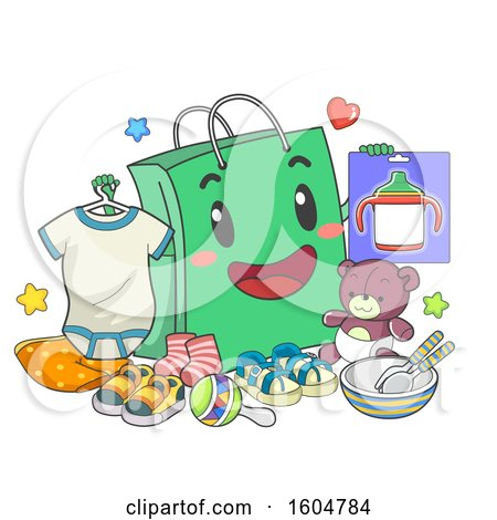 Clipart of a Shopping Bag Mascot Holding Toddler Things like Onesies, Sippy Cup and Toys - Royalty Free Vector Illustration by BNP Design Studio