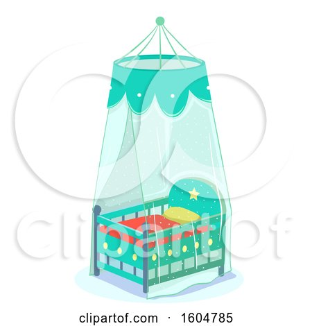 Clipart of a Green Baby Crib with Net Cover for Protection - Royalty Free Vector Illustration by BNP Design Studio