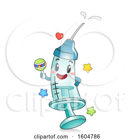 Clipart of a Syringe Mascot with Vaccine or Medicine Holding a Rattle - Royalty Free Vector Illustration by BNP Design Studio