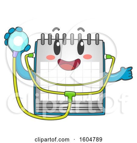 Clipart of a Calendar Mascot Holding a Stethoscope for Child Check up - Royalty Free Vector Illustration by BNP Design Studio