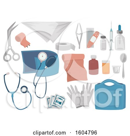Clipart of a First Aid Kit and Contents - Royalty Free Vector Illustration by BNP Design Studio