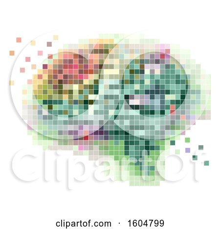 Clipart Of A Colorful Pixel Art Brain, On A White Background   Royalty Free  Vector Illustration By BNP Design Studio
