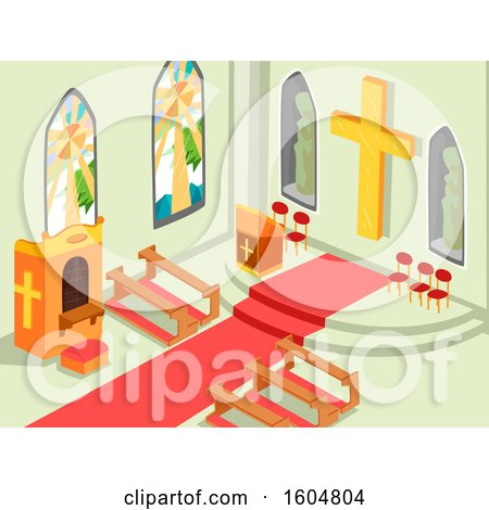 Clipart of a Church Interior with the Cross, Altar, Benches and Confession Box - Royalty Free Vector Illustration by BNP Design Studio