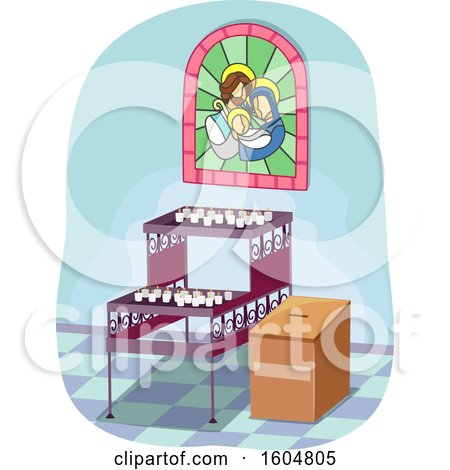 Clipart of Lighted Votive Candles Inside Church with Stained Glass and Donation Box - Royalty Free Vector Illustration by BNP Design Studio