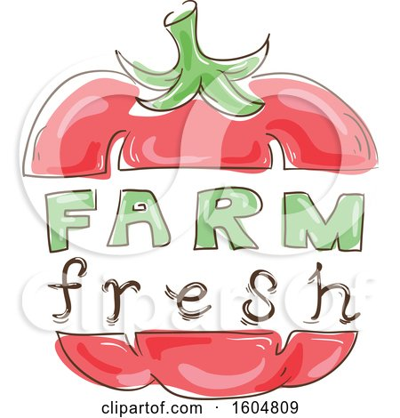 Clipart of a Farm Fresh Design with a Bell Pepper or Tomato - Royalty Free Vector Illustration by BNP Design Studio