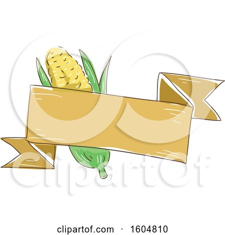 Clipart of a Ribbon Banner and Ear of Corn - Royalty Free Vector Illustration by BNP Design Studio