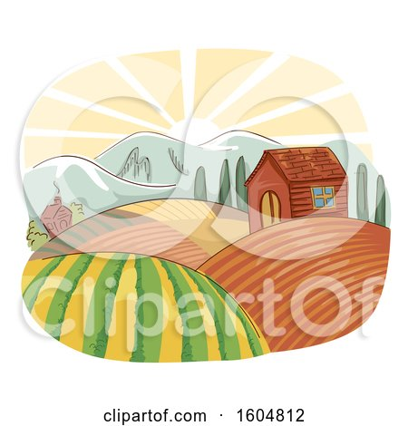 Clipart of a Farm Landscape with a House and Rolling Fields at Sunrise - Royalty Free Vector Illustration by BNP Design Studio